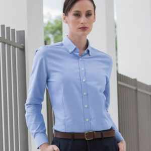 Henbury Ladies Modern Long Sleeve Regular Fit Oxford Shirt Thumbnail