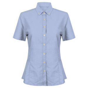 Henbury Ladies Modern Short Sleeve Regular Fit Oxford Shirt Thumbnail