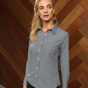 Premier Ladies Gingham Long Sleeve Shirt Thumbnail