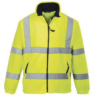 Yellow high visibility fleece jacket, mesh lined