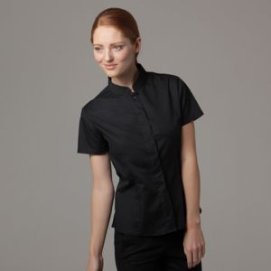 Bar blouse mandarin collar short sleeve Thumbnail